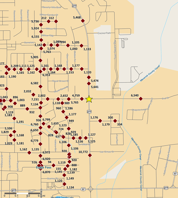 Traffic count map