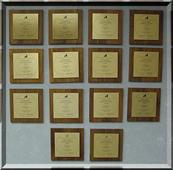 Achievement plaques awarded to the Finance Department